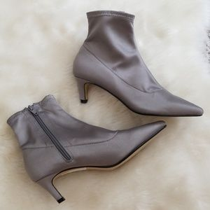 TopShop Heeled Satin Ankle Booties